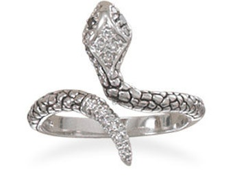 Sterling Silver Rhodium Plated CZ Snake Ring, Sterling silver 925 Ring.