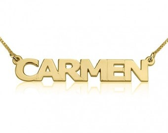 24K Gold Plated Block Letters Name Necklace with chain