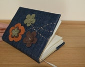 Denim cover with brown and olive green leather appliques A6 journal. Ready to ship