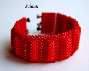 Coral/Red Statement Seed Bead Cuff Bracelet, Beadwoven High Fashion Jewelry, Women's Beaded Accessory, Right Angle Weave, Gift for Her, OOAK