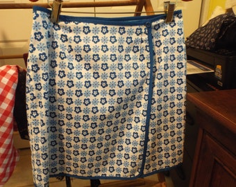 Women's Sweet Adorable Reversible Wrap Skirt Blue Polka Dot and Mod Flowers Summer Fashion