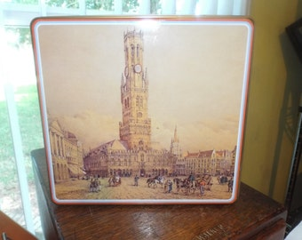 Collectible Tin From Bruges Belgium Country Farmhouse
