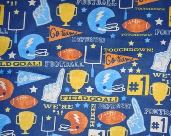 Blue Football Gear Toss  Flannel Fabric by the Yard