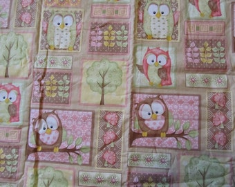 36 x 33 Inches Pink/Brown/Yellow/Green Owls and Trees Cotton Fabric