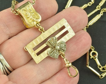 Gold Filled Necklace Watch Chain Small Ladies Watch Or Locket Holder Assembled Vintage Victorian ~ Lot 545