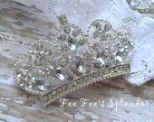 Silver Rhinestone Crown embellishment- Metal Alloy 32 mm x 54 mm- Newborn photo prop- Rhinestone Tiara- Silver rhinestone crown