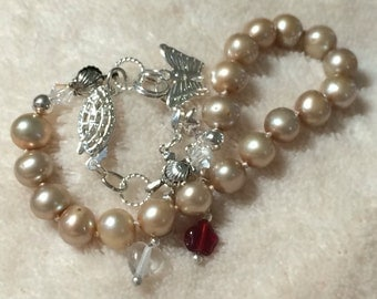 Freshwater Pearl Bracelet Champagne Cultured Freshwater Pearls With Sterling Findings And Drop With Swarovski AB Beads