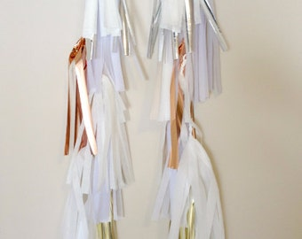 MOONLIGHT SKY - Two, 3 FT. Tissue Paper Tassel Towers - Balloon Tassels - Party - Wedding