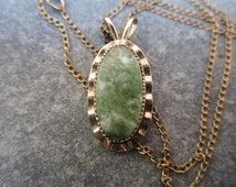 Vintage Spinach Jade and Gold Filled Necklace,1950sJewelry, Mottled Green Stone Necklace,Curtis Jewelry Manufacturing