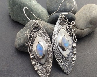 Blue moonstone earrings for a sky goddess, large abstract textured sterling silver, long dramatic hanging abstract sky leaves floral design