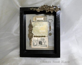 Mixed Media Vintage Text Found Poem Hashtag Flourishing Woman over Fifty Framed to 8 X 10