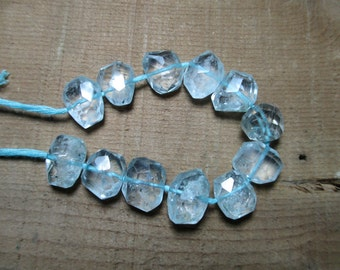 Aquamarine Faceted 15 Pc Flat faceted beads  hand polished -254A