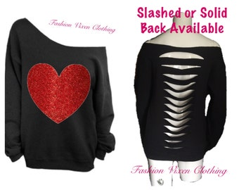 Red Glitter Heart Black Off the Shoulder Sweatshirt (Slashed or Solid Back) XS S M L XL Plus Size 1x 2x 3x 4x 5x