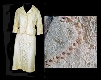 Vintage 60s Skirt Suit Cream Lace Pencil Skirt Wedding Suit Size L - XL Evening Wear
