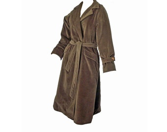 Vintage 1970's Coat Brown Wool Trench Coat Size L