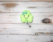 Felt St. Patrick's Day Shamrock ID Retractable Badge Reel/St. Paddy's Day Happy Shamrock Retractable ID Badge Holder with Clip