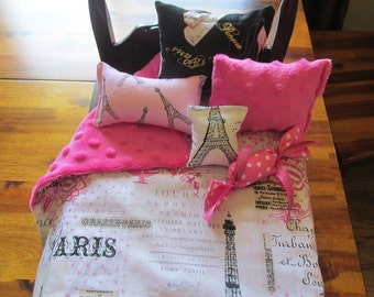 "Paris Doll Bedding Set, AG Comforter Set, 18"" Doll Bedding"