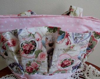Pink Victorian Bingo Bag, Craft Bag, Diaper Bag