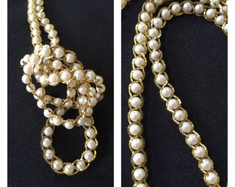Vintage Pearl Beaded Necklace Faux Pearl And Gold Tone Braided Necklace Fashion Jewelry Costume Jewelry