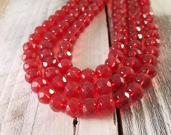 Red Faceted Rondelle Glass Beads 10mm