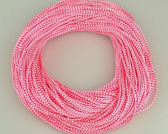 Pink & White Waxed Cotton Cord 2mm