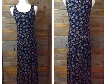 90's Black Floral Maxi Dress