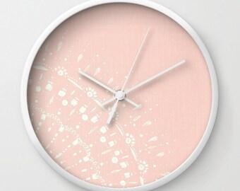 Pink Wall Clock, pastel pink clock, light pink clock, pink white clock, pink wall clock, modern wall clock, blush pink clock