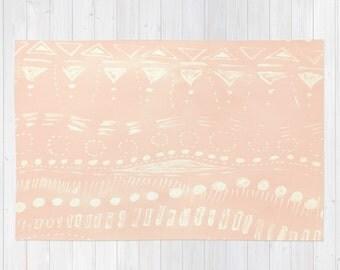 Blush Pink Geometric Area Rug, pastel pink rug, light pink rug, nursery rug, geometric rug, blush pink rug, blush area rug, pale pink rug