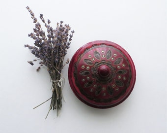 70s Carved Oxblood Wooden Box Lidded Ornate Maroon Cherry Oak Tone, Round Carved Jewelry Trinket Box
