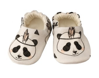 Baby Shoes, Organic, Pandas, British, Baby Pram Shoes, Baby Slippers, soft soled shoes, cruising, pram shoes, grey shoes