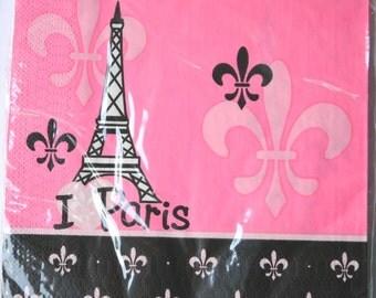 16 Fleur de Lis Paper Napkins, Eiffel Tower Paris Paper Napkins, Paris Party Paper Napkins, Pink Chic Paris Theme Paper Napkins