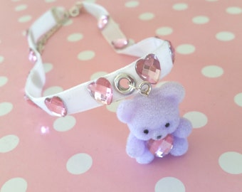 Tiny Teddy Choker - Cute Fairy Kei Kawaii