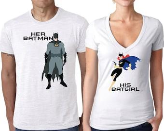 Batman Shirt, Batgirl shirt, Couples Shirt, Super Hero Shirt, Comic Shirt, Comic couple shirt