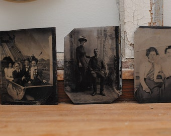 Lot of five tintype photos 1800s - Coney Island