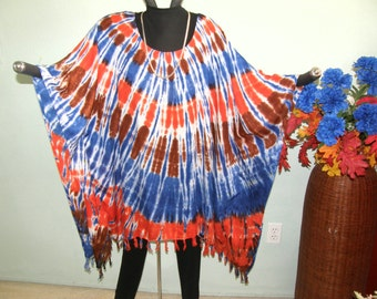 TIE DYE TUNIC - Fringed Rayon from Indonesia - Blue, Orange, Brown - Plus Size, Full Figure