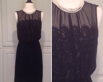Vintage little black dress, Classic Black Cocktail Dress / Another Pettisize Jr / chiffon overlay with lace / 1950s 1960s Party Dress