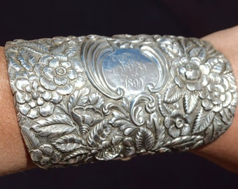 Antique Victorian Solid Sterling Silver 925 .925 Bracelet,Floral Art Nouveau Cuff Stieff Wide Armlet Repousse Embossed Bracer Spoon Jewelry