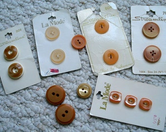 Orange, Melon, Tangerine Assortment of Vintage Buttons many on Cards,  Total of 16 buttons in Various Sizes