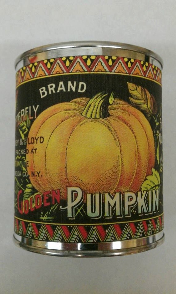 PUMPKIN SPICE- Vintage Pumpkin Can Wood Wick Candle 16 oz - Free Shipping USA