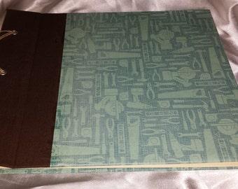 Handmade, Customizable, Brown and blue tools Scrapbook Album