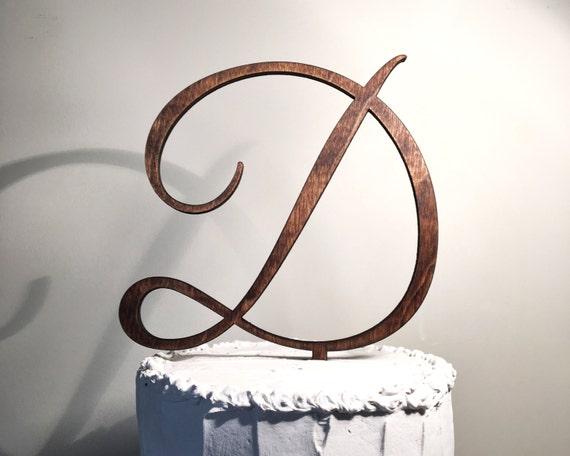 wooden wedding cake topper  letter d monogram cake topper