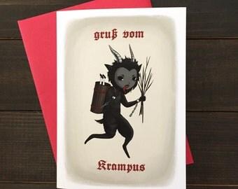 Krampus Christmas card, holiday card, Krampusnacht, creepy Christmas card, goth Christmas card, blank card and envelope, Krampuskarten