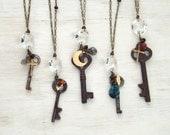 Bridesmaid Necklace Set - Ask, Seek, Knock - Skeleton Key  + Chandelier Crystal + Vintage Charm Necklace