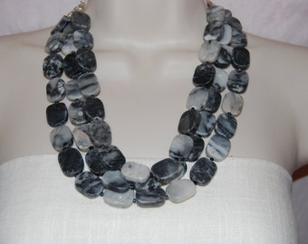 Statement Necklace Multi Strand Marbles Stone Beaded Necklace Chunky Bold Wedding Bridesmaids necklace Bride