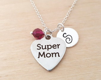 Super Mom Necklace - Mother Charm - Swarovski Birthstone - Personalized Gift - Initial Necklace -Sterling Silver Jewelry - Gift for Her
