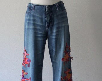 Vintage 1990s Voyage Passion Colorful Embroidery Denim Trousers