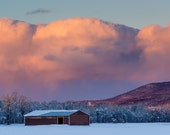 Hillsdale Shed - winter landscape photography print - upstate ny - wall art - nature - EyeWasHere