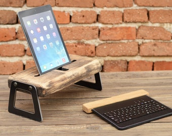 Wooden iPad holder iPad docking station Tablet wooden stand iPad dock