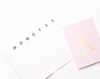 Monthly Planner / your golden letter / pink or Mint