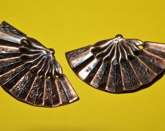 Vintage Clip on Earrings Asian Fans Oriental Fan  Сopper 1950s